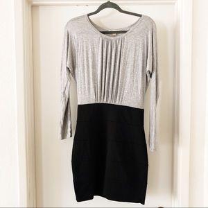 twentyone | gray & black long sleeve bandage dress